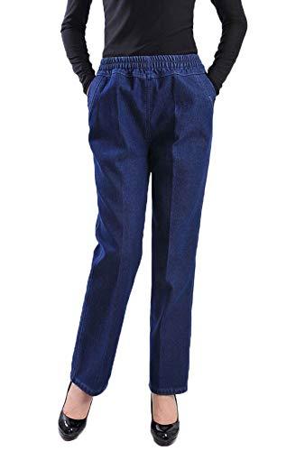 (Soojun Womens Casual High-Rise Elastic Waist Regular Fit Jean,Dark Blue,X-Large )