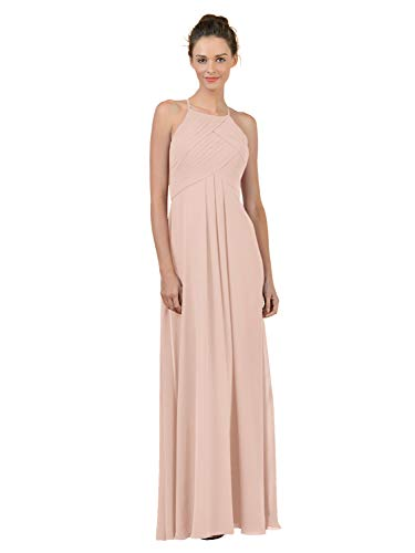Alicepub Long Chiffon Plus Size Bridesmaid Dress Maxi Evening Gown A Line Plus Party Dress, Pearl Pink, US10