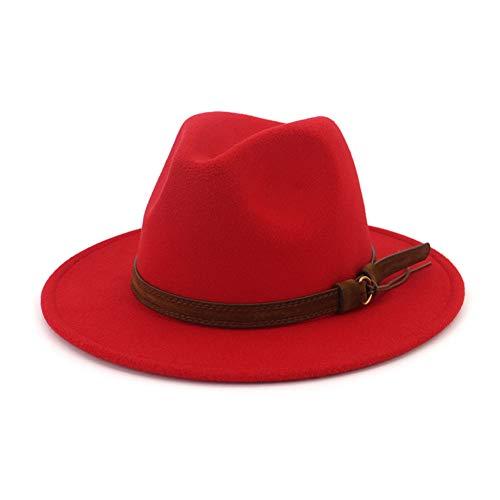 Lisianthus Men & Women Vintage Wide Brim Fedora Hat with Belt Buckle Red 58-60cm