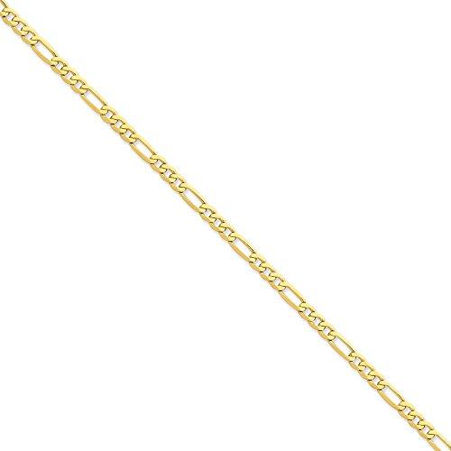 4,7 carats 14 mm plat Figaro Bracelet Chaîne 8 cm-JewelryWeb pince de homard