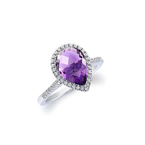 Verona Jewelers Sterling Silver Genuine Gemstone Halo Pear Cut Teardrop Ring Women- 925 Gemstone Rings, Select Color Size (7, Amethyst) ()