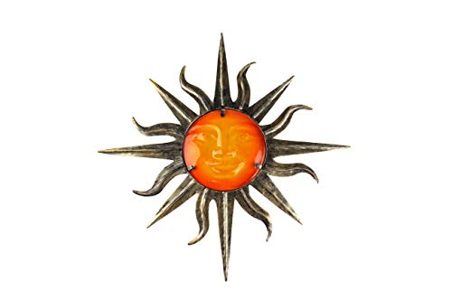 Liffy Metal Sun Wall Decor Outdoor Glass Sculpture Art Bronze Decorations for Living Room Bedroom (Metal Small Sun)