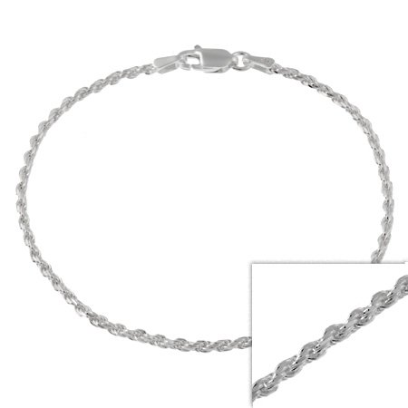 """Sterling Silver 2mm Italian Rope Chain Anklet 9"""" 10"""""""
