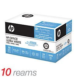 HP Office Ultra White Paper, 8 1/2in. x 11in., 20 Lb, 500 Sheets Per Ream, Case Of 10 Reams, 333465
