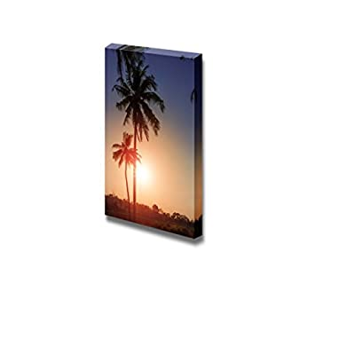 Canvas Prints Wall Art - Blue Sky Through Palm Trees. Vintage Filter - 24