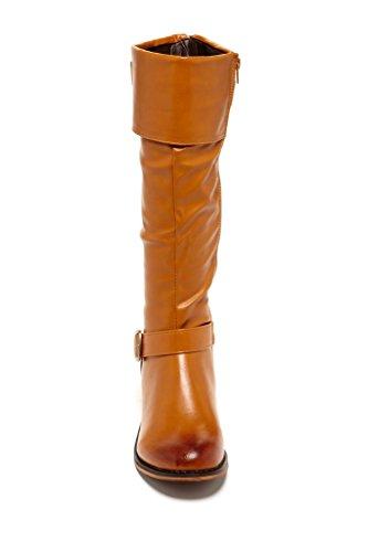 Bucco Rosmarino Donna Moda Foldover Stivali Da Equitazione Cognac