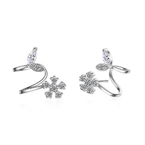 Flower Clip Earrings Rhinestone - Orris Sterling Silver Flower Fariry Style Cute Whale Tail Ear Cuff Wrap Clip Stud Set Earring (For Pierced Ear)