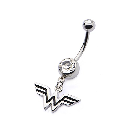 Logo 14g Belly Ring Barbell - Belly Button Ring Navel 14g 7/16 Navel with Clear CZ and Wonder Woman Logo Dangle Charm