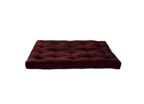 """Artiva USA Home Deluxe 8"""" Futon Sofa Mattress with Inner Spring Made in US Best Quality for Long-Lasting Use, Solid, Full, Dark Burgundy"""