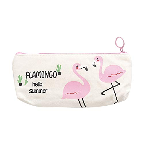Buyanputra Lovely Flamingo Cactus Pencil Case Student Canvas Stationery Bag Pouch