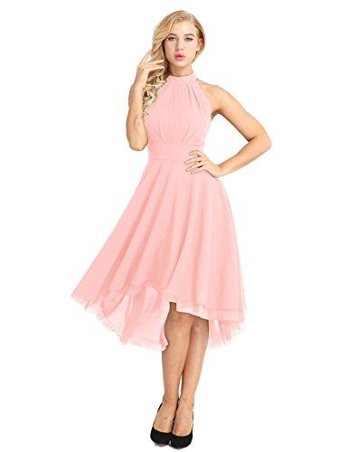 FEESHOW Women Sleeveless Halter Chiffon Asymmetrical High Low Homecoming Party Bridesmaid Dress Pink 4