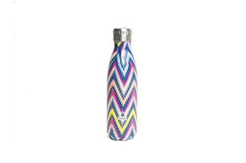 Manna Vogue Patterned Stainless Steel Double Walled Vacuum Insulated 17 oz Water Bottle | No Sweat | BPA Free | Keeps Drinks Hot 12 Hours & Cold 24 Hours - Jetstream