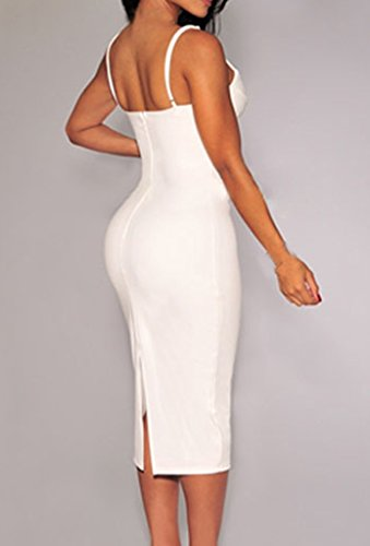 Zkess Women's Sleeveless Plunging V Neck Cocktail Bodycon Dress One Size White