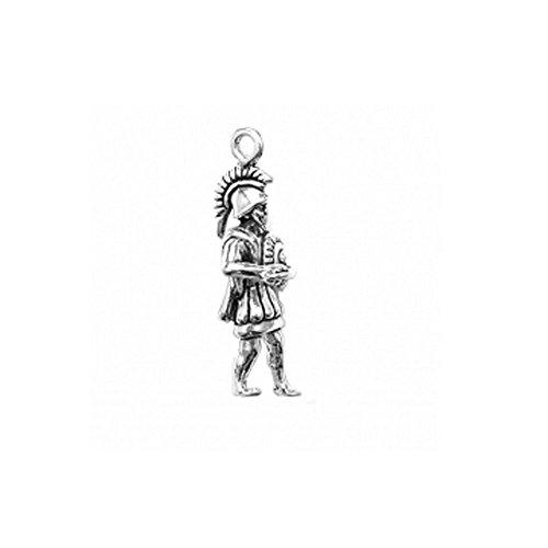 Sterling Silver 3D Trojan Mascot Sports Charm Item #3430 (Sterling Silver Shield 3/4