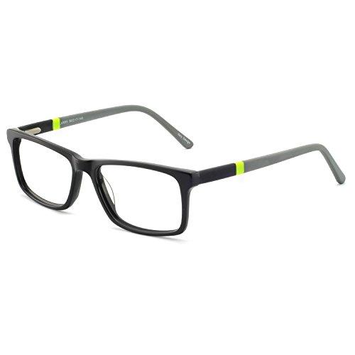 Fashion Designer Style Rectangular Glasses Frame Clear Lens Eyeglasses (Gray) For Women Men Metal Spring Hinge RX