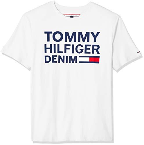 Tommy Hilfiger Men's THD Short Sleeve Logo T Shirt, Bright White, LG ()