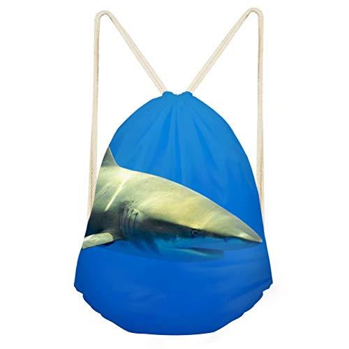 Promotional Shopper - Shark Cool Drawstring Backpack Durable Promotional Shopper Bags