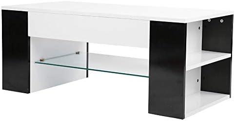 Veilig Betalen Uitla salontafel, bijzettafel, koffietafel, elegante, moderne salontafel, met zijdelingse opbergkast, medium glazen rek, 100 x 50 x 42 cm  9r4S6gU