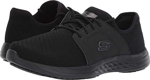 Mens Slip Sneakers - Skechers Work Relaxed Fit Toston WP SR Mens Slip Resistant Sneakers Black 12