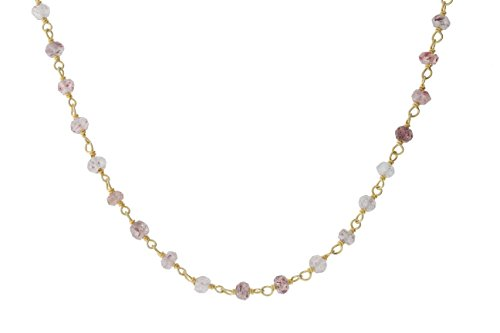 Gold-Tone Sterling Silver Wire Natural Strawberry Rose Quartz Gemstone Bead Chain Stone Link Handmade Rosary Bracelet Anklet 8 Inches