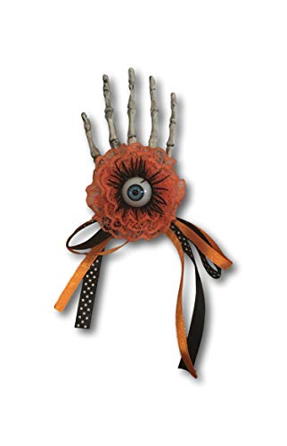Spooky Halloween Clips (Halloween Hair Clip Skeleton Hand & Spooky Eyeball Bow Ribbon Metal Clasp Clip)