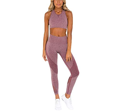- Hotexy Women's Workout Sets 2 Pieces Suits High Waisted Yoga Leggings with Stretch Sports Bra Gym Clothes Pink
