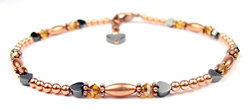 - DAMALI Yellow Topaz Anklets for Women, November Birthstone Jewelry, Handmade Copper Beaded Swarovski Crystal Ankle Bracelets