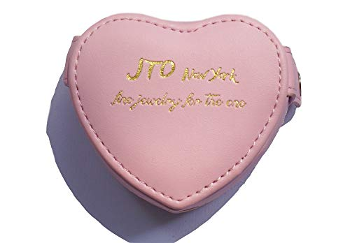 JTO Jewelry Box Organizer Holder Coin Purse Heart Shaped Pink PU Leather Small Wallet for Girls Mother's Dasy Gift