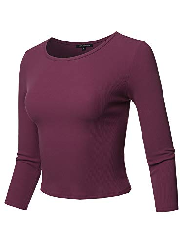 Casual Sexy Cute Solid 3/4 Sleeve Rib Cotton Spandex Knit Crop Top Purple L