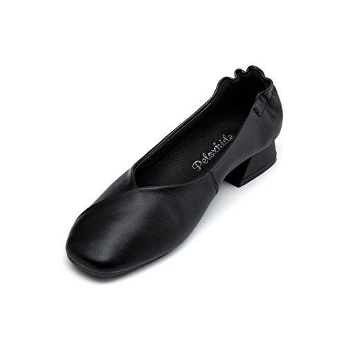 peloxhide Women's Chunky Heel Square Toe Flats Slip-On Loafer Dress Work Comfortable Shoe by peloxhide