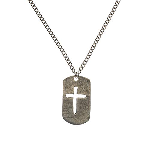 (Dicksons Brushed Silver-Tone Dog Tag with Cutout Cross of Nails Pewter Curb Chain Pendant Necklace)
