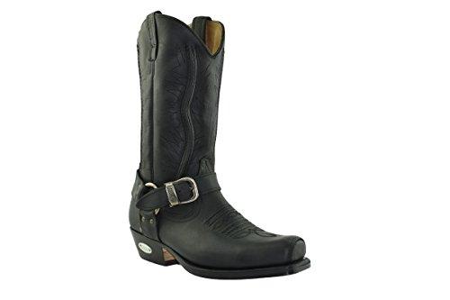 Loblan Punta Ricamati 641 Cowboy Decori Western Pelle Fibbia Moto Vera Nero Quadra Stivali rnOqxwFTSr