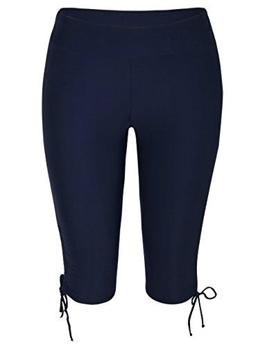- coastal rose Women's Swimming Shorts High Waist Tankini Bikini Bottoms Plus Size Swim Shorts US16 Navy