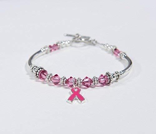 (Breast Cancer Bracelet // Pink Ribbon Awareness Charm Bracelet // Swarovski Crystal bracelet // survivor, hope, support, strength // Pink. #01)