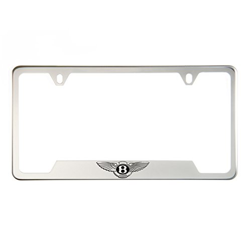 (1x Laser Etched Bentley Logo on Chrome Bottom Cut Out Stainless Steel License Plate Frame Holder with Aluminum Screw)