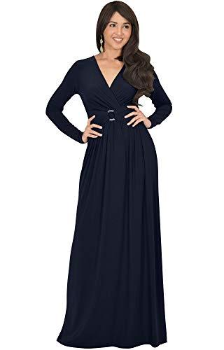 2b2ec2b1aec KOH KOH Plus Size Womens Long Sleeve V-Neck Floor Full Length Elegant  Casual Evening