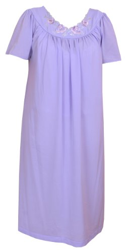 Shadowline Petals Short Sleeve Gown (36280) S/Periwinkle (Periwinkle Nightgown)