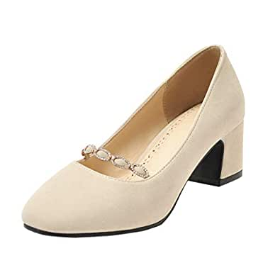 ELEEMEE Women Elegant Block Heel Slip on Mary Jane Closed Toe Party Dress Pumps Shoes Apricot Size 32 Asian