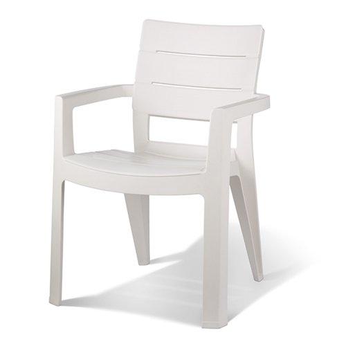 Jardin 206970 Fauteuil empilable Ibiza, 62 x 62 x 83 cm en Plastique Blanc