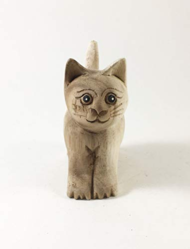 Thai Arts & Creations 1 pc -Modern Handmade Natural Unfinished Wooden Carved Standing Cat- Animal Doll Figurine - Collectibles Decor - 4 inches