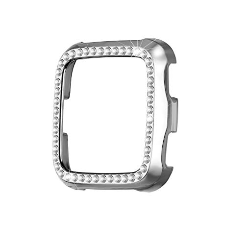 bayite Case Compatible with Fitbit Versa, Lightweight Plastic Plated Color Full Cover Bumper Protective Frame Screen Protector Bling Diamonds, Silver ()