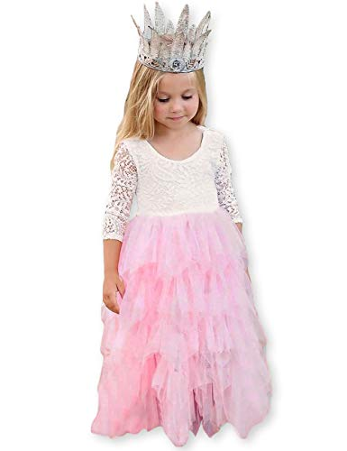 KYMIDY Summer V-Back Backless Multilayer Lace Tutu Tulle Flower Girl Party Long Dress,Light Pink,5 Years -