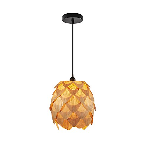 Huarsp B5201704 Fashion Pineapple Wood Veneer Material Shape Chandeliers for Restaurant, Study, Kitchen,Bedroom, etc.Burlywood by Huarsp (Image #1)