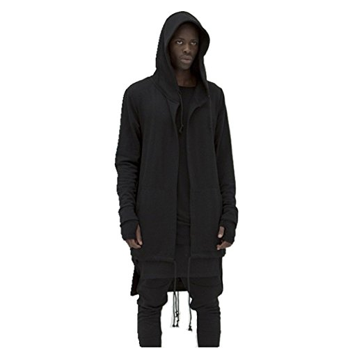 Amazon.com: OLRIK Mens Hooded Outwear Plus Long Hoodies Overcoat ...