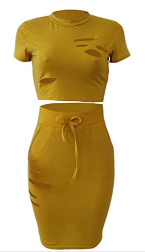Top Bodycon Piece Skinny Crop Holes Yellow Womens Darwstring Dress Cruiize 2 4YUw5q8n