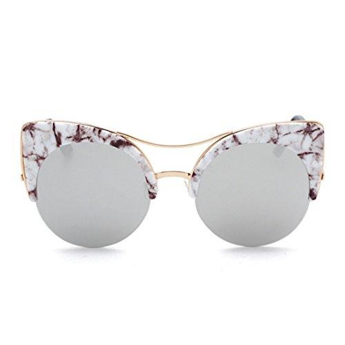 marco Gafas de gafas gato y ojo mujeres hombres sol Gafas Blanco de retro Medio Aiweijia OZR7Wx