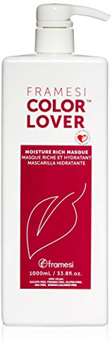 (Framesi Color Lover Moisture Rich Masque - 33.8 Ounce, Revitalizing Treatment, Color Safe, Weightless and Moisture Rich Mask, Vegan, Gluten Free, Cruelty Free)