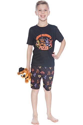Five Nights at Freddy's 'Plushy Pizza' Pajama Short Set, Black, L]()