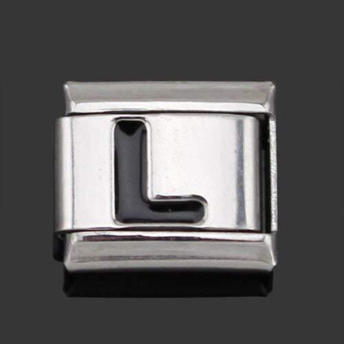 Original Daisy Black 26 Letters A-Z Italian Charms | Fit 9Mm Bracelet Stainless Steel Jewelry Making (9Mm Width)