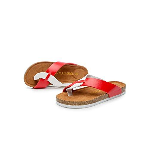 Rosso Spiaggia Ragazze Toe ZKOO Donna Tempo Scarpe Pantofole Bianca Bassi Infradito Sandali Libero Peep Estate YUYz6Ex